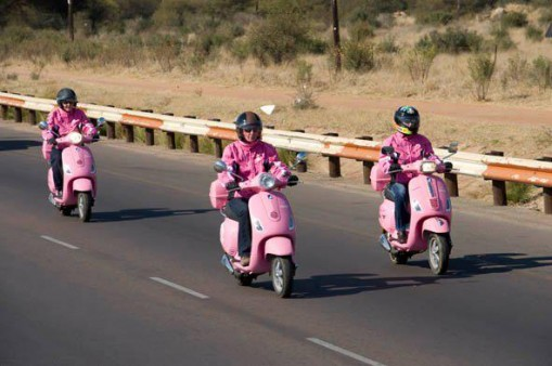 Cancer survivors on pink Vespas travel across Batswana