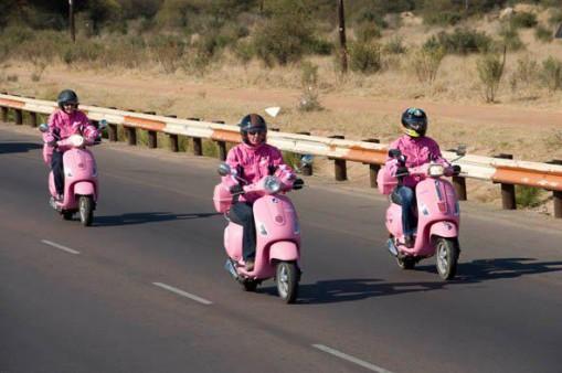 Cancer survivors on pink Vespas travel across Batswana