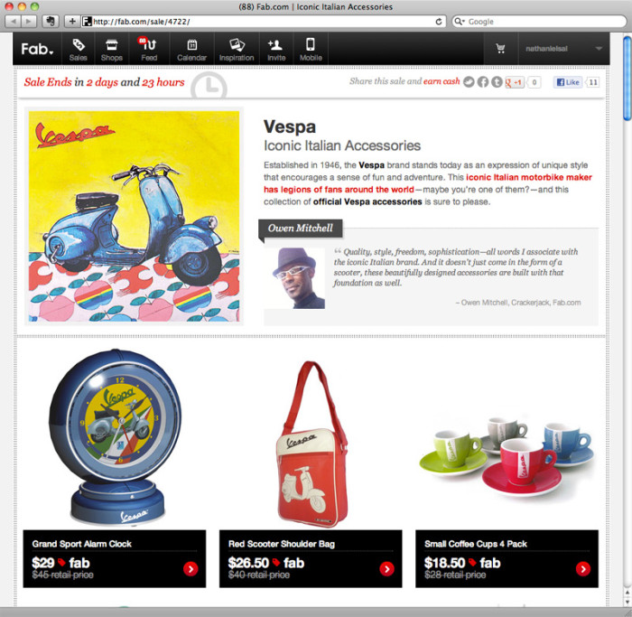 Vespa Merch on sale today at Fab.com